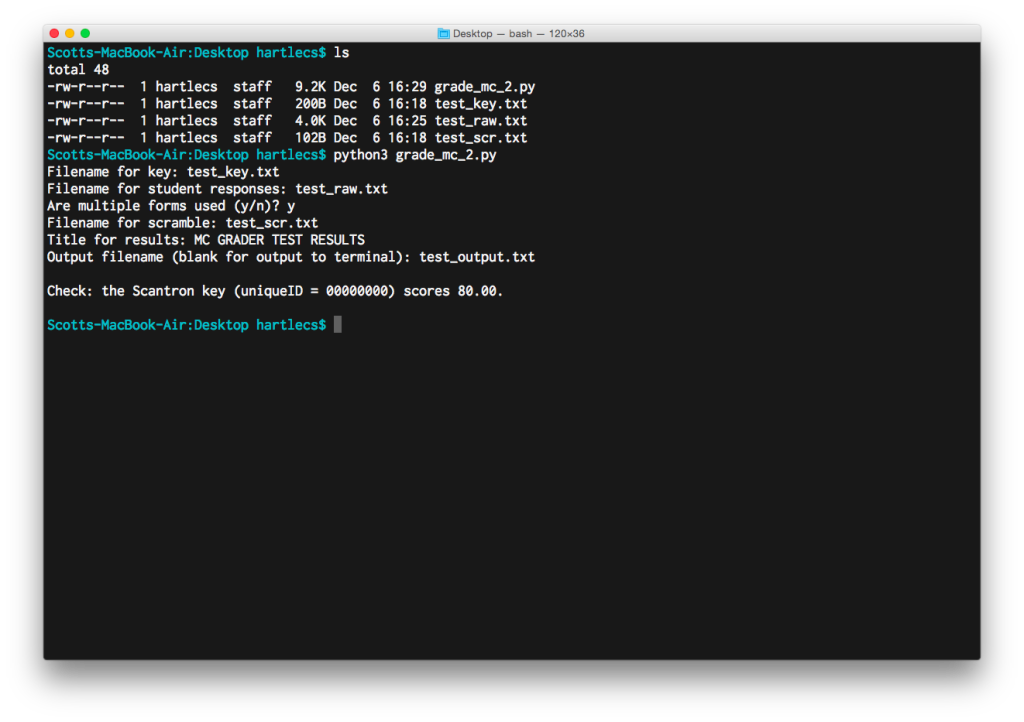 Screenshot of grade_mc_2.py script being run