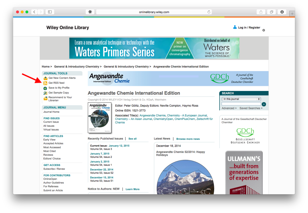 Screenshot of Angew. Chemie. website with RSS feed link indicated.