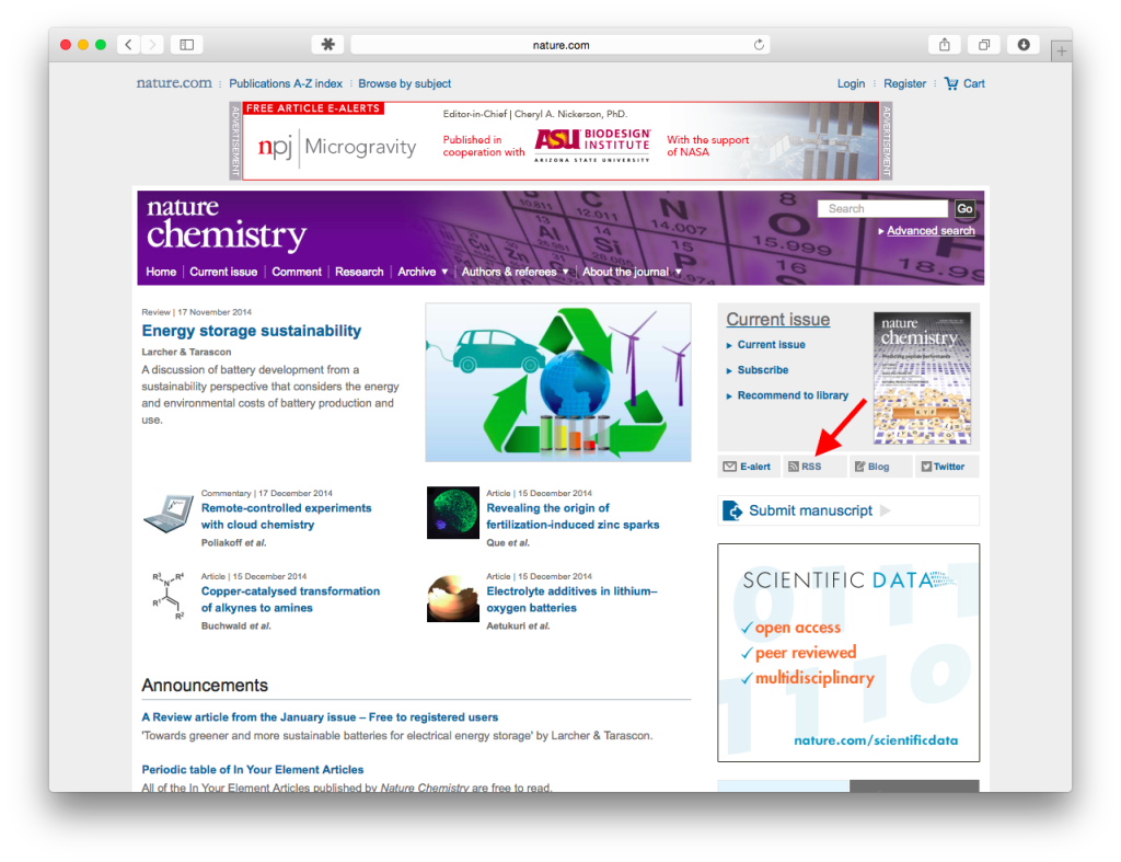 Screenshot of Nature Chemistry website (home page), with link to RSS feeds page indicated.