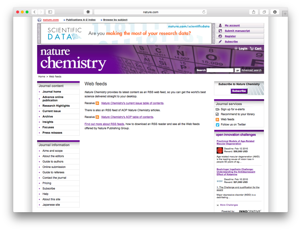 Screen shote of Nature Chemistry RSS feeds page.