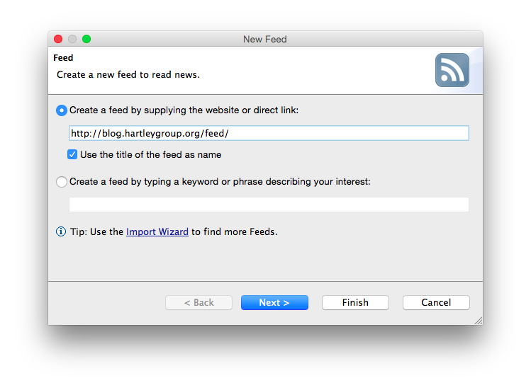 Screenshot of the wizard to add new RSS feeds in RSSOwl.