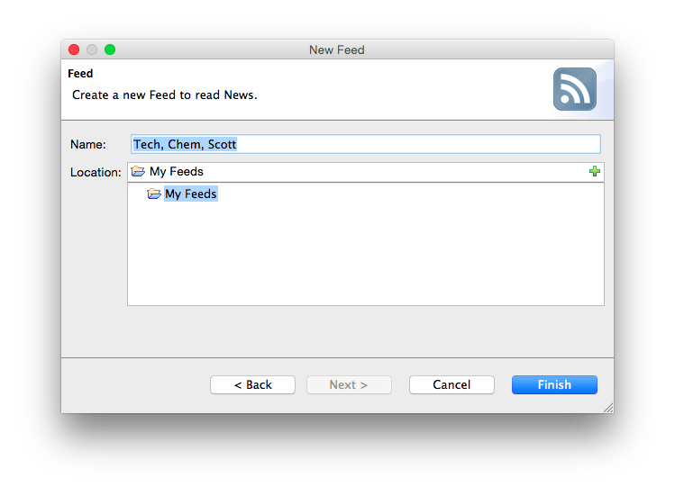 Screenshot of the add feed wizard in RSSOwl.